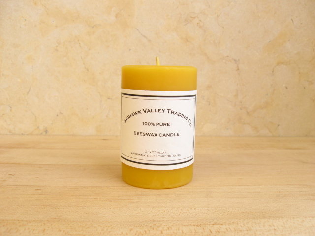 "100% Pure Beeswax Pillar Candle - 2"" X 3"""