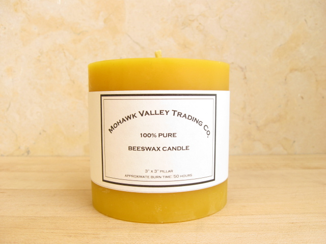 "100% Pure Beeswax Pillar Candle - 3"" X 3"""